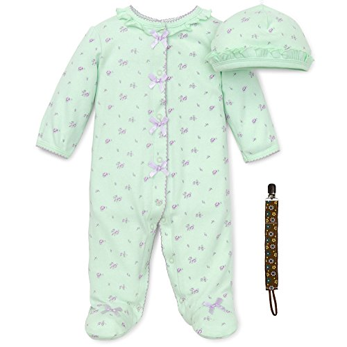 Little Me Newborn Rose Floral Footie, Baby Hat and Tether Preemie, Green