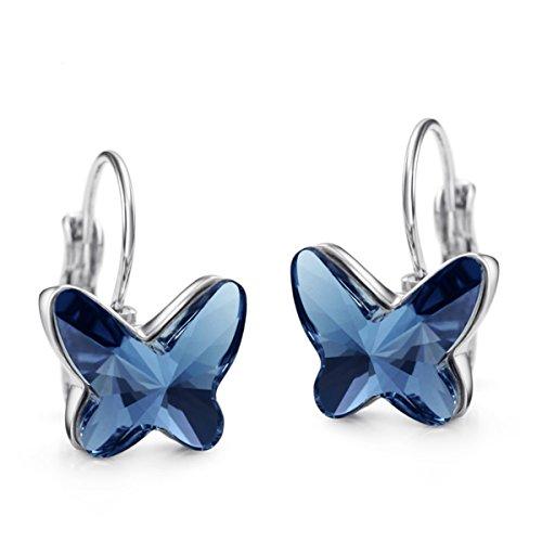 Pendientes de Mariposa con Cristales Swarovski Azul