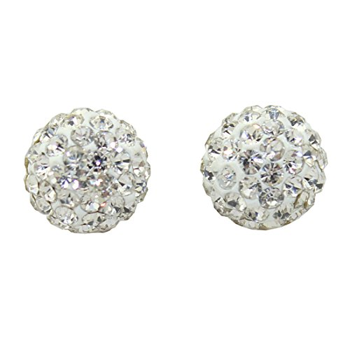 Blossom Forever 10Mm Sparkling Cz Crystal Round Bead Ball Stud Earrings 925 Silver Stamped 30 Colours (Clear White)