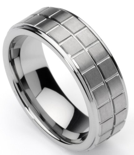 Men's Tungsten Ring/ Wedding Band, Boxed Design, Sizes 7 - 10 (rg 1) (10)