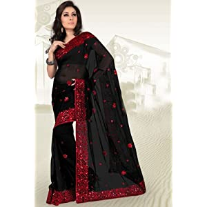 Black Party and Festival Embroidered Faux Georgette Saree