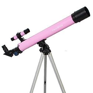 Pink TwinStar AstroMark 50mm 75x Power Refractor Telescope