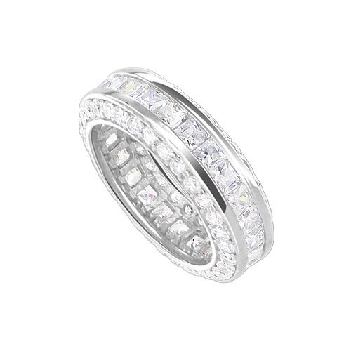 Nickel Free Sterling Silver 6mm Round Shaped Clear Cubic Zirconia Rhodium Plated Polished Finish Eternity Band Ring Size 5