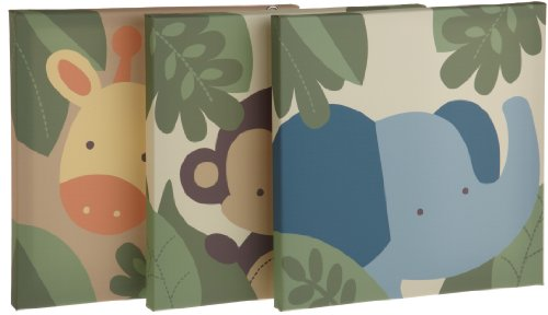 Kids Line Jungle 123 Canvas Wall Art 3 Piece, Brown