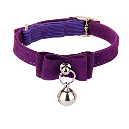 Generic Adjustable Pet Kitten Cat Puppy Safety Collar Bell Buckle Neck Strap Purple