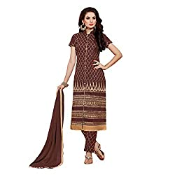 Resham Fabrics Brown Embroidered Cotton Salwar Suit Dupatta Material