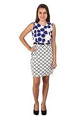 Vteens Royal Blue & Off White Multi-Print Short Dress (Medium)