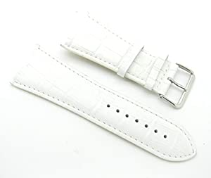 32mm Leather Alligator Grain White Watch Band with Spring Bars