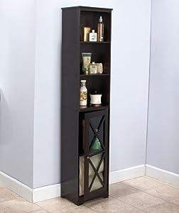 NARROW BLACK WOODEN STORAGE CABINET WITH CRISSCROSS WINDOWPANE DOORS
