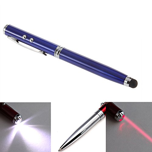 Toch Tm 4 In 1 Multi-Functional Stylus For Capacitive Touch Screen Iphone 5/5S/6/6 Plus Ipad Samsung Galaxy Tab Nexus And Other Cellphone Tablet-Ball-Point Pen/Laser Pointer/Led Flashlight/Microfiber Tip Stylus Blue