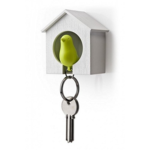 Sparrow Key Ring by Qualy Design Studio. Cool Wall Decoration - Nice and Practical Wall Mounted Keyholder and Keyring. Unusual Gift. White Birdhouse and Green Bird Keychain. (Large Slide Whistle compare prices)