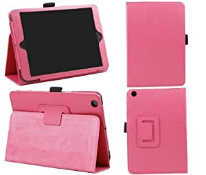 iTALKonline Apple iPad Mini Tablet (Wifi + 3G) Hot Pink Stand & Type PU Leather Executive Multi-Function Wallet Case Cover Organiser Flip with Built in Typing Stand