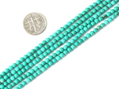 Sweet & Happy Girl'S Store 4Mm Round Gemstone Natural Turquoise Beads Strand 15