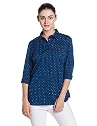 US Polo Women's Shirt (UWSH0157_Poseidon_Large)