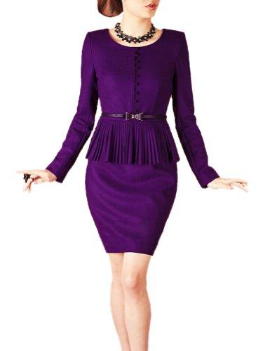 Purpura Erizo Womens Purple Faux 2 Piece Set Suit Belted Peplum Wool Dress, XX-Large