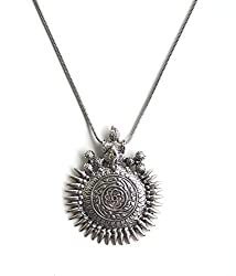 Sansar India Antique Oxidized German Silver Long Chain Ganesha Sundial Pendant Necklace Jewellery for Girls and Women