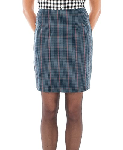 Blue Tweed Overcheck Fitted Skirt