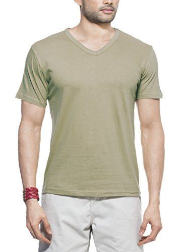 Zovi Zovi Men's Cotton Police Khaki Solid V-Neck T-Shirt (10632206501) (Multicolor)