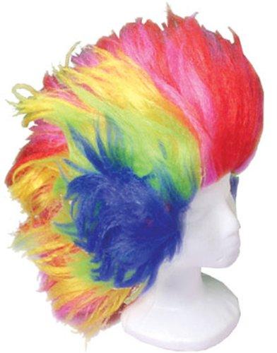 Deluxe Adult Rainbow Jester Windblown Hair Clown Wig