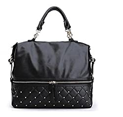 Di Grazia Sequined Boston Style Italian PU Leather Women's Shoulder Sling Satchel Handbag - Black