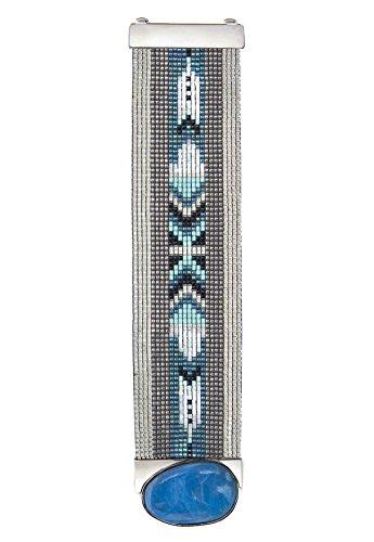 Gioielli-Hipanema-Manchette in perle argentate e pietra blu-Hipanema Ottawa-Dimensione:
