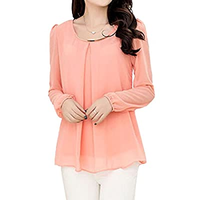 QIYUN.Z Women Loose Chiffon Blouse Shirt Long Bubble Sleeves Falbala Hem Chemise