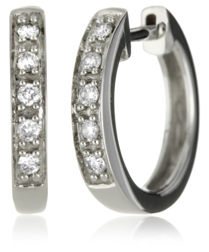 "Kc Designs ""Charmed Life"" Diamond 14K White Gold Mini Hoop Earrings"