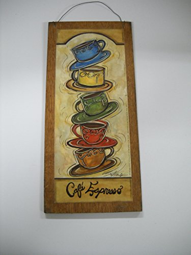 Wooden wall decor for kitchen : Cafe espresso stacked coffee mugs kitchen wooden wall art