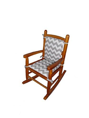 Baby Doll Chevron Junior Rocking Chair Pad, Grey - 1