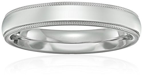 Standard Comfort-Fit Platinum Milgrain Band, 4mm, Size 9 (Platinum 4mm Band compare prices)
