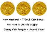Three (3) Disney Club Penguin Code Gold Coins to Unlock Six(6) Treasure Book Items