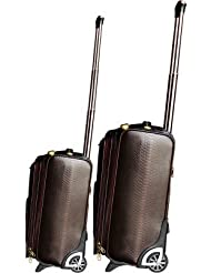 "COCKTAIL 100% Leather, Solid & Stylish Trolley Bag-Brown (Size-16"" Cabin Size)"