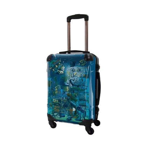 ナナコ/ワールドシー/アートスーツケース/個性的/フレーム4輪/TSAロック/機内持込可能/キャラート/ブルー 絵本 海 不思議の国 魚/CRA01-J10301