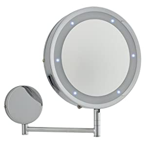 modern round chrome led battery operated magnifying. Black Bedroom Furniture Sets. Home Design Ideas