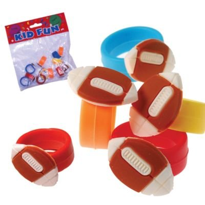 Dozen Assorted Color Rubber Stretchy Football Rings - 1