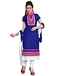 Trendz Apparels Blue 60 Gm Georgette And Jacquard Straight Fit Salwar Suit