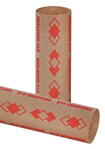 PM Company SecurIT $10.00/Quarter Pre-Crimped Tubular Coin Wrappers, 3.25 Inches Length, Brown/Orange, 1000/Carton (65072)