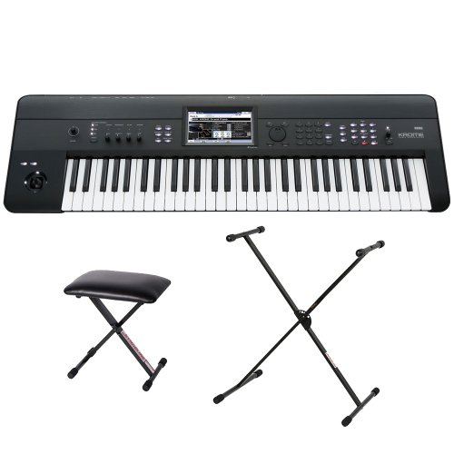 Korg Krome-88 88-Key Keyboard Workstation With Semi-Weighted Keys Bundle With Stageline Kb40 Keyboard Bench And Stageline Ks26Q Double-Braced Adjustable X-Style Keyboard Stand