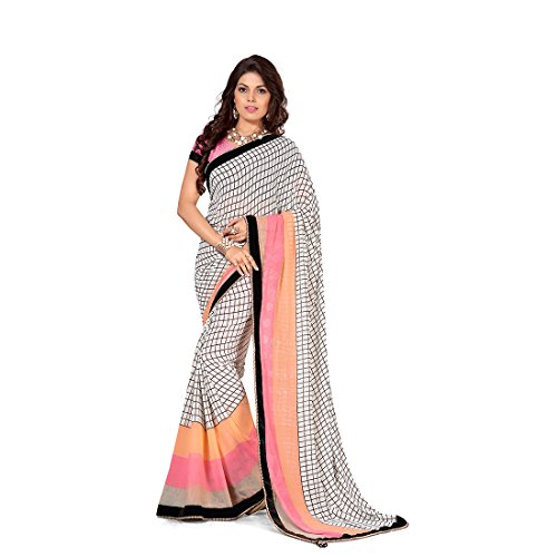 Anusha Off White,Brown Georgette Self Printed With Attached Border Saree