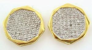 10KYG 0.50CTW ROUND MICRO PAVE DIAMOND MENS EARRINGS FOER1490