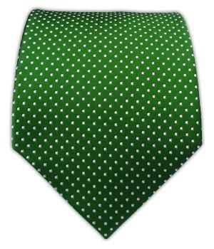 100% Silk Woven Kelly Green Pindot Patterned Boys Tie