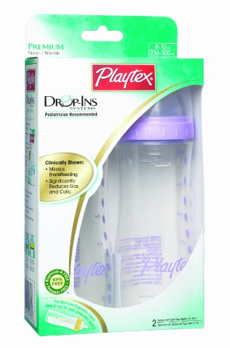 Playtex BPA Free Drop-Ins Premium Nurser 8 oz - 2 Pack (Colors Vary)