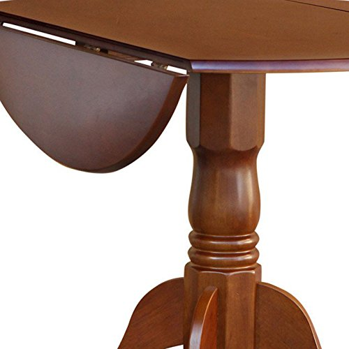 East West Furniture DLT-SBR-TP Round Table with Two 9-Inch Drop Leaves, Saddle Brown Finish
