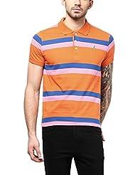 American Crew Men's Polo Collar Stripes T-Shirt (Orange, Pink & Blue)