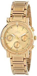 Invicta Womens 14873 Wildflower Gold Dial 18k Gold Ion-Plated Stainless Steel Watch