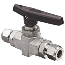 Parker B Series Stainless Steel 316 Ball Valve, Inline, A-Lok Compression Fitting
