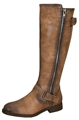 Pita-40 Women's Zipper Dressy Knee High Rider Boots with Buckle Accent Nude 10