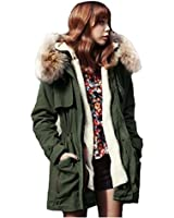 ZANZEA Womens Thicken Fur Collar Coat Fleece Trench Parka Zip Winter Hooded Jacket Outerwear S-XXL