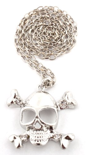 Silver Pirates Logo Pendant with a 28 Inch Link Chain Iced Out Necklace