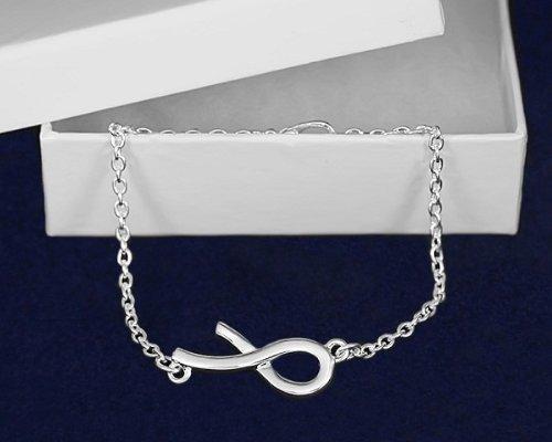 Silver Ribbon Bracelet- Large Silver Ribbon Bracelet (18 Bracelets)